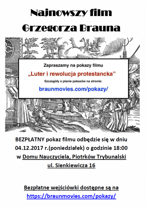 "Pokaz filmu ""Luter i rewolucja protestancka"""