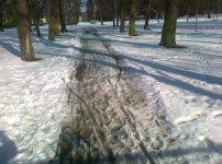Piotrków: W parku pe³no b³ota i ¶niegu