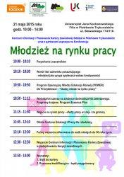 """21 maja zapraszamy na konferencję """"Młodzież na rynku pracy"""""""