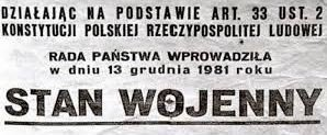 Upamiêtni± 34 rocznicê wprowadzenia stanu wojennego