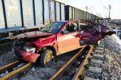 Pijany kierowca wjechał w pociąg
