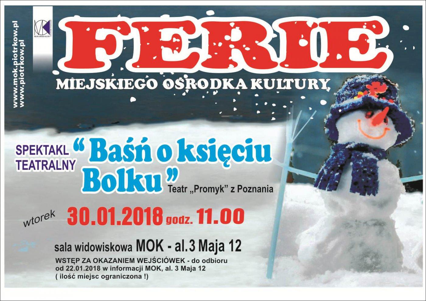 """Ferie zimowe w MOK - spektakl teatralny dla dzieci pt.: """"Ba¶ñ o ksiêciu Bolku"""""""