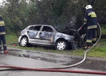 Auto spłonęło po zjechaniu do rowu