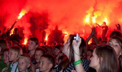 Kibice GKS Bełchatów świętowali