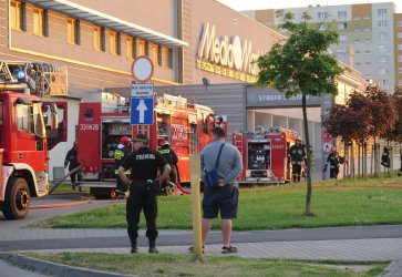 Pożar w Focusie. Klienci ewakuowani