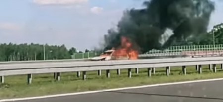 Pożar samochodu na A1