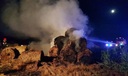 Pożar w gminie Moszczenica. Płonęły baloty słomy