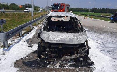 Pożar samochodu w Srocku