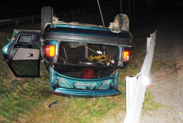 Kierowca audi dachował. Miał prawie dwa promile