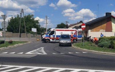 Zderzenie motocykla z osobówką w Sulejowie