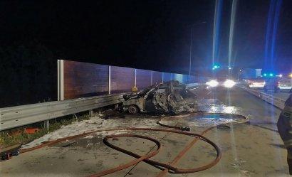 Osobówka spłonęła na autostradzie A1
