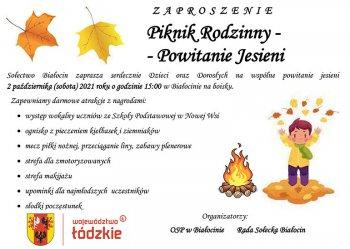 Piknik rodzinny - Powitanie jesieni - w sobotę 2 października w Białocinie