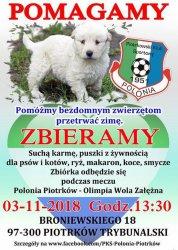 Będą zbierać karmę dla zwierząt podczas meczu Polonii