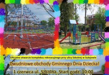 Gminny Dzień Dziecka na nowym placu zabaw. Zapraszamy do Sulejowa!
