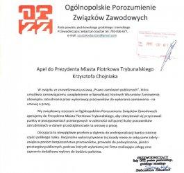 Związki apelują do prezydenta Chojniaka