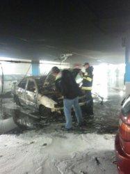 Spłonął samochód na parkingu w Focus Mall