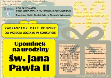 Konkurs z okazji rocznicy urodzin św. Jana Pawła II