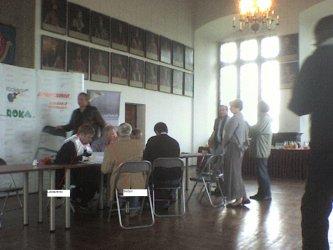 Próba i konferencja prasowa przed widowiskiem historycznym