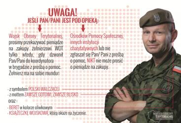 """UWAGA - oszuści próbowali wyłudzić pieniądze """"na żołnierza WOT""""."""