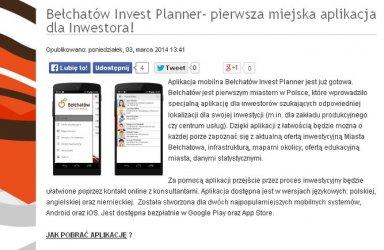 Pierwsza miejska aplikacja dla inwestorów