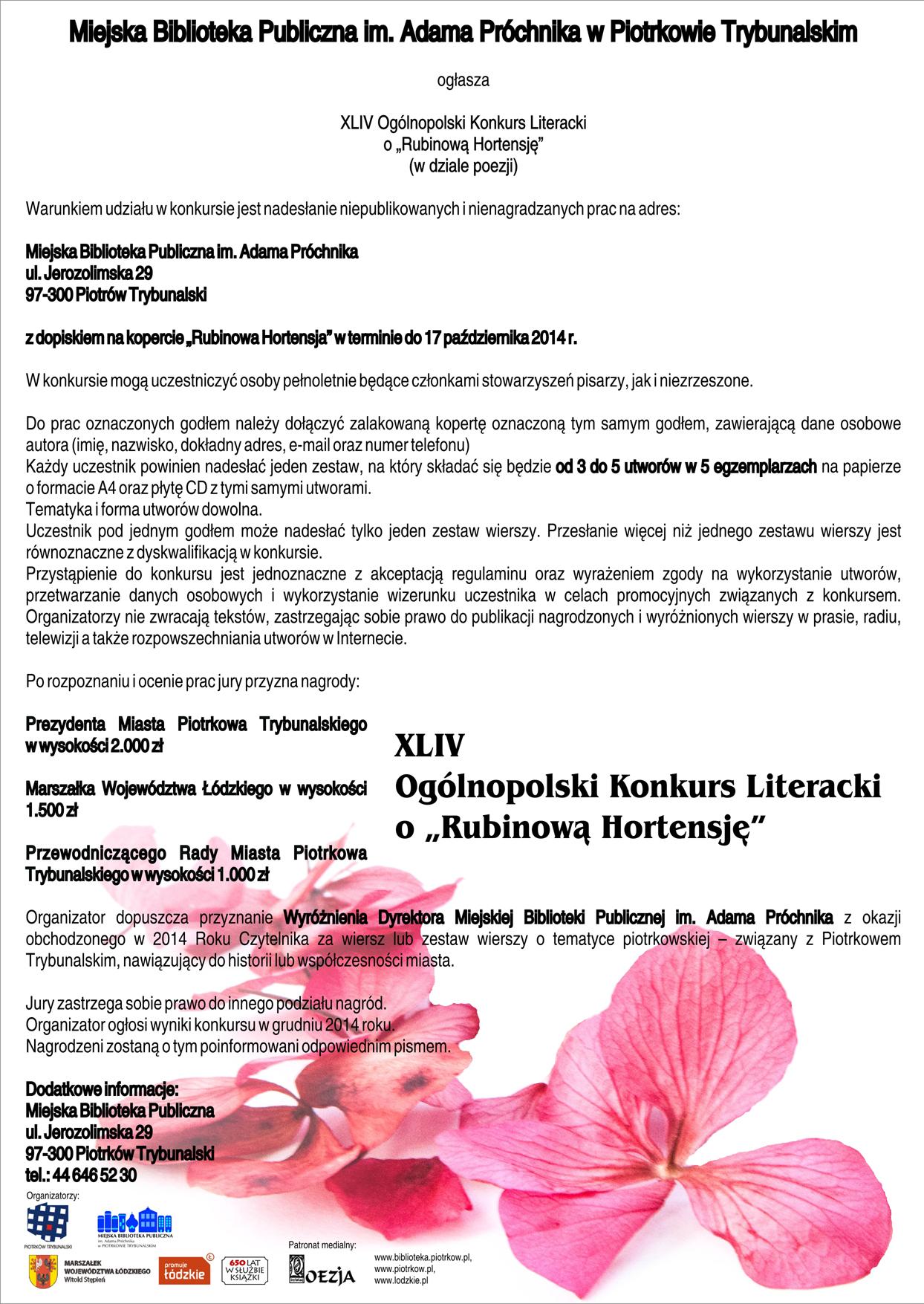 Ogólnopolski Konkurs Literacki O Rubinową Hortensję