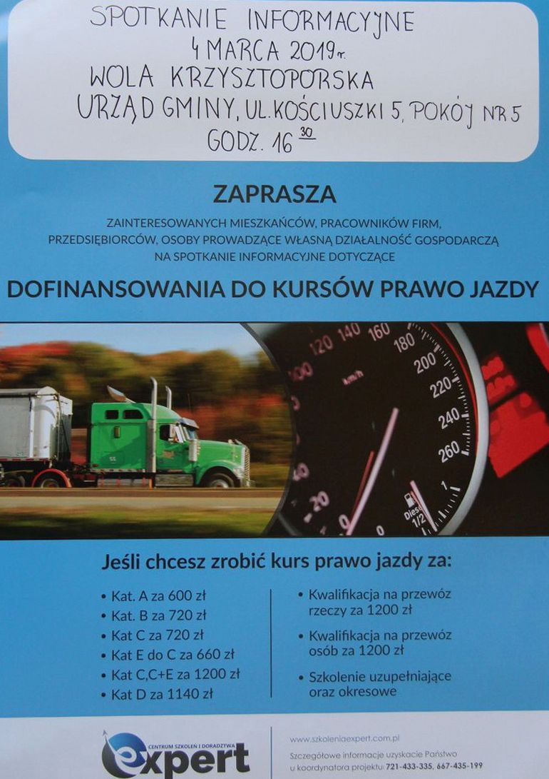 Wola Krzysztoporska: Spotkanie informacyjne dotyczące dofinansowania do kursów prawa jazdy