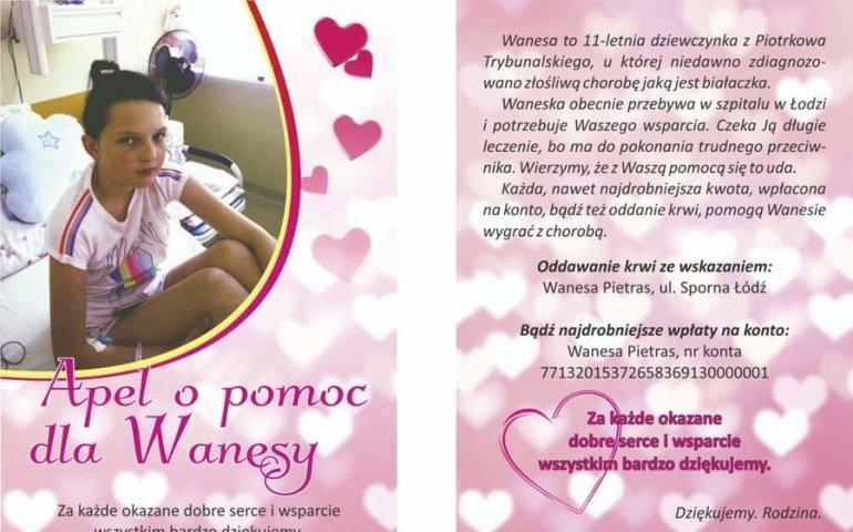 11-letnia Wanesa z Piotrkowa potrzebuje pomocy