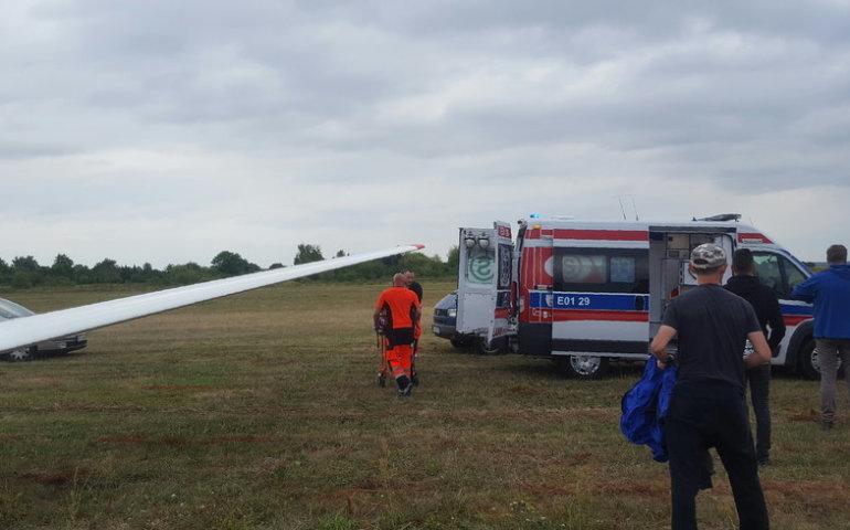 Wypadek szybowca na piotrkowskim lotnisku