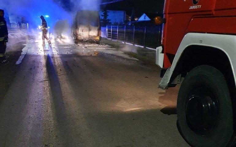 Pożar dostawczaka w Michałowie
