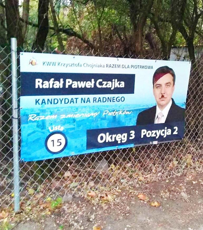 Zniszczono kolejne banery wyborcze