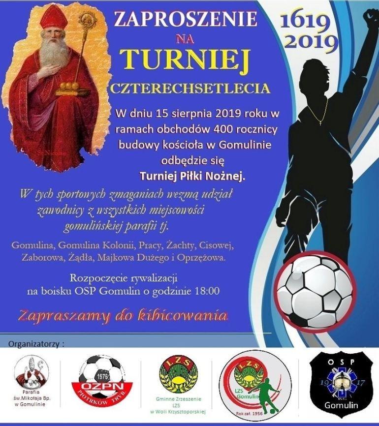 """Turniej """"w nogę"""" na 400-lecie budowy kościoła w Gomulinie"""